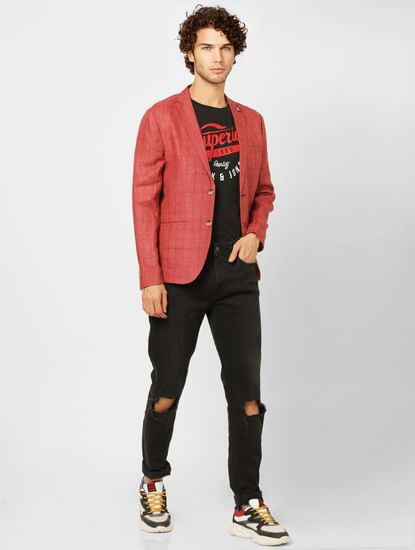 Crimson Check Slim Fit Blazer