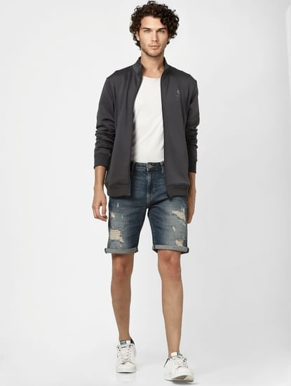 Dark Blue Mid Rise Distressed Denim Shorts