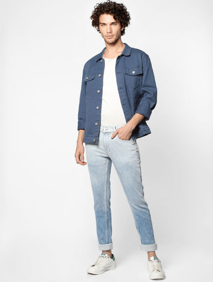 Light Blue Mid Rise Liam Washed Skinny Fit  Jeans