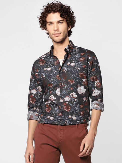 Dark Grey All Over Floral Print Full Sleeves Shirt