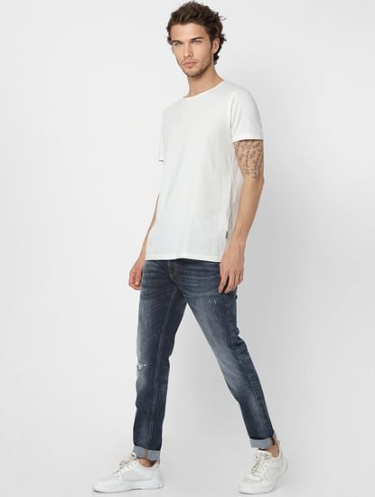 Dark Blue Mid Rise Liam Skinny Fit Jeans