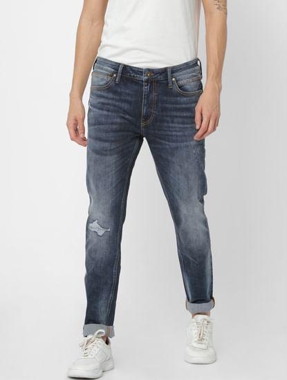 Dark Blue Mid Rise Liam Skinny Fit Jeans
