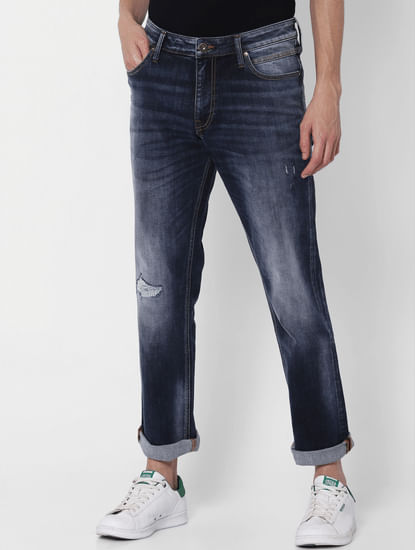 Dark Blue Mid Rise Clark  Regular Fit Jeans