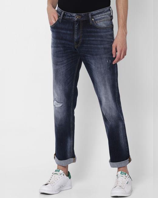 Dark Blue Mid Rise Clark  Regular Fit Jeans