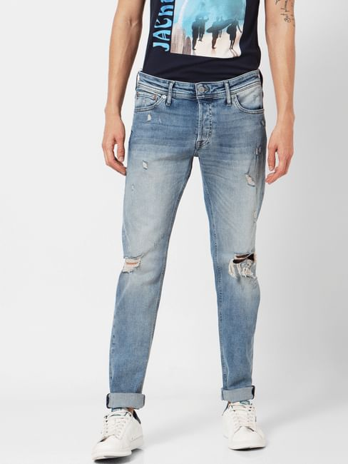 Light Blue Mid Rise Glenn Distressed Jeans