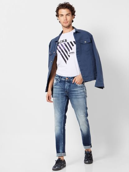 Dark Blue Mid Rise Ben Distressed Jeans