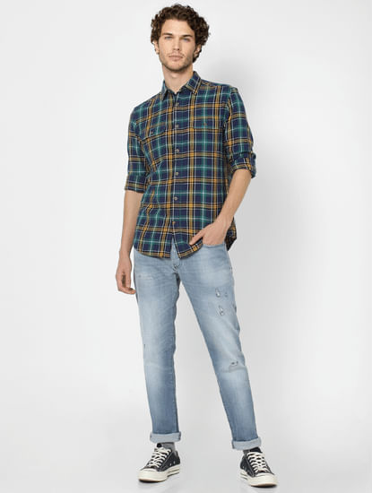 Navy Blue Full Sleeves Slim Fit Check Shirt