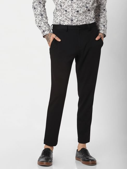 Black Mid Rise Slim Fit Trousers