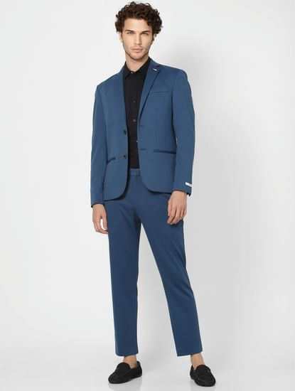 Deep Teal Mid Rise Slim Fit Trousers