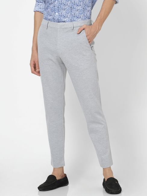 Grey Mid Rise Slim Fit Trousers