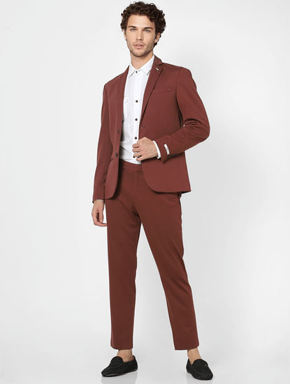 Rum Raisin Mid Rise Slim Fit Trousers