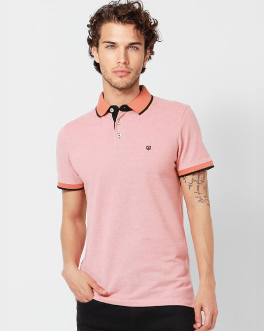 Pink Tipping Polo Neck T-shirt