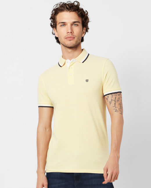 Yellow Tipping Polo Neck T-shirt