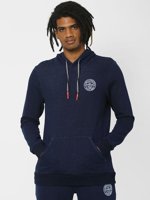 Navy Logo Print Hooded Sweatshirt