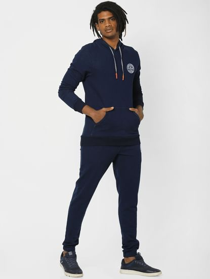 Navy Logo Print Drawstring Sweatpants