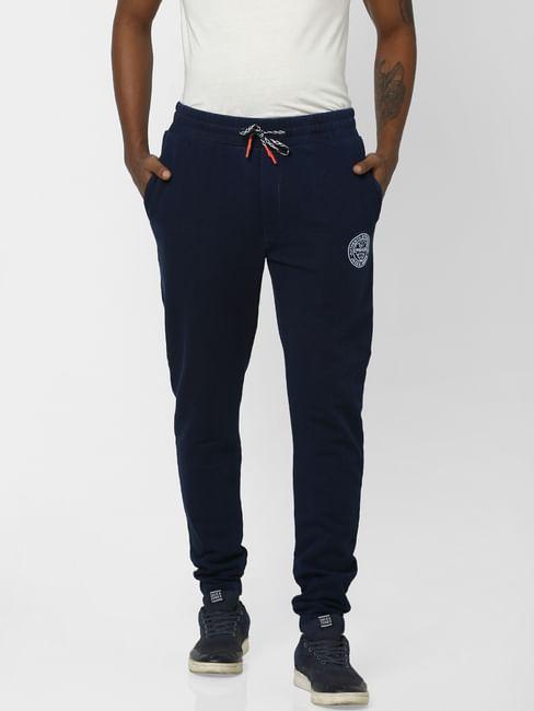Navy Logo Print Drawstring Sweatpants