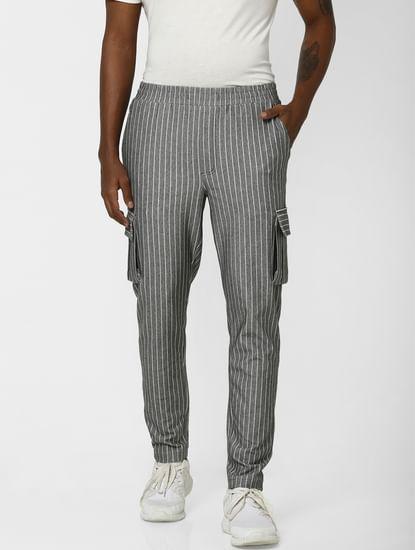 Grey Striped Regular Fit Pants