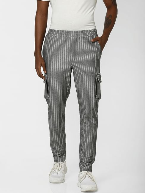 Grey Striped Regular Fit Pants