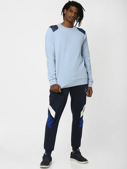 Navy Colourblocked  Sweatpants