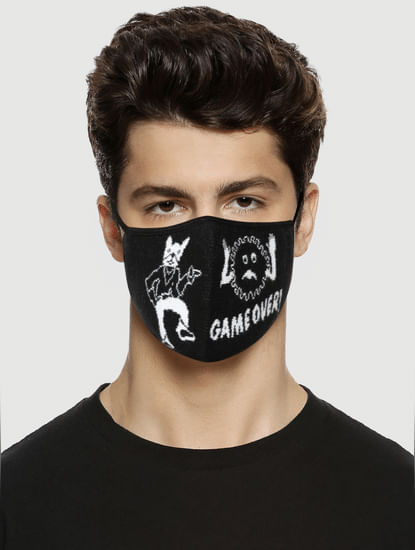 Pack of 3 Black Graphic Print Knit 3PLY Mask