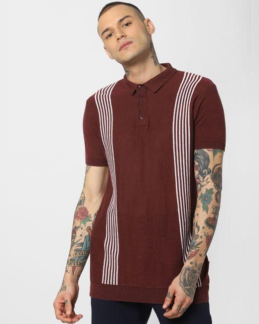 Dark Brown Striped Polo Neck T-Shirt