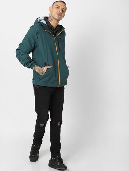 Green Zip Up Hooded Jacket