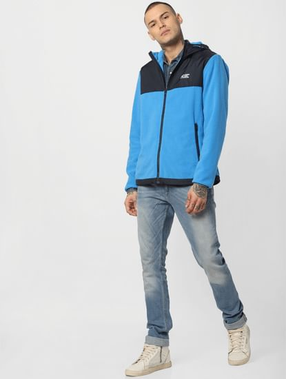 Blue Hooded Fleece Jacket