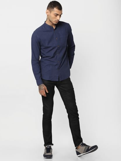Blue Button Down Full Sleeves Shirt