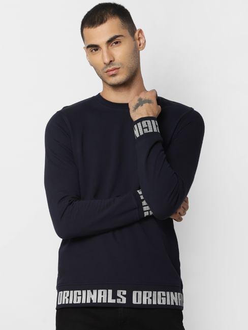 Navy Blue Text Print Sweatshirt