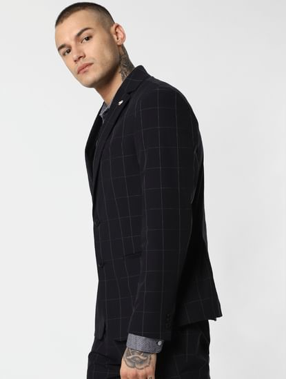 Navy Blue Check Formal Blazer