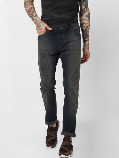 Dark Blue Low Rise Washed Slim Fit Jeans
