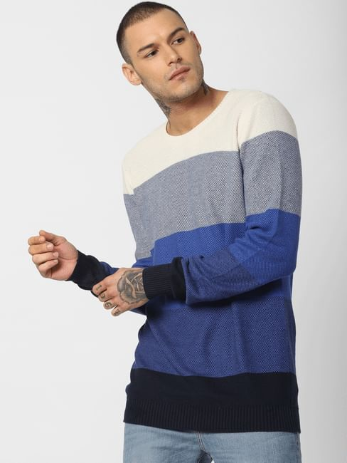 Blue Colourblocked Pullover