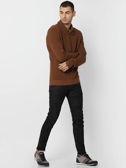 Brown Textured Shawl Neck Pullover