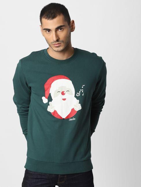 Green Santa Graphic Print Sweatshirt