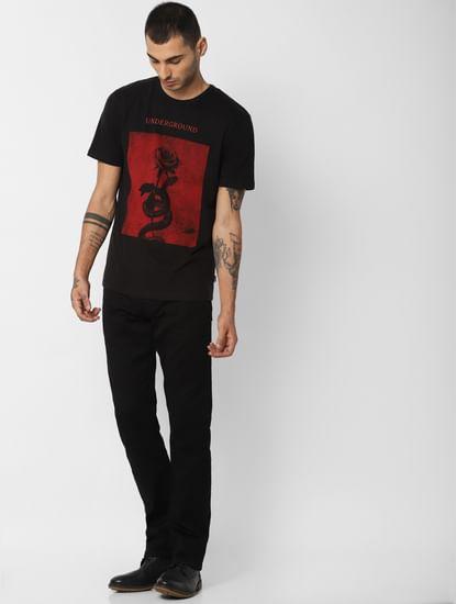 Black Rose Graphic Print Crew Neck T-Shirt