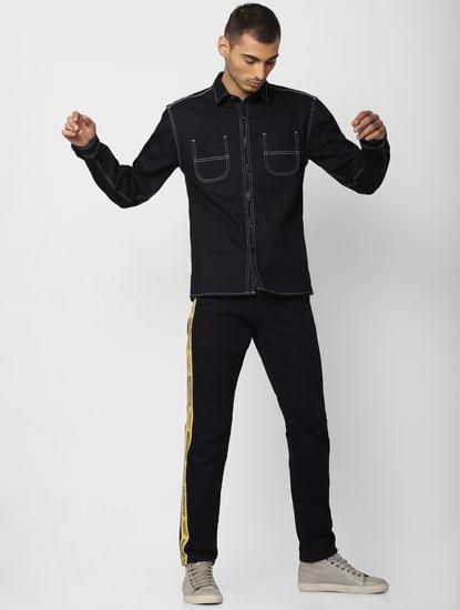 Dark Blue Contrast Stitching Full Sleeves Denim Shirt