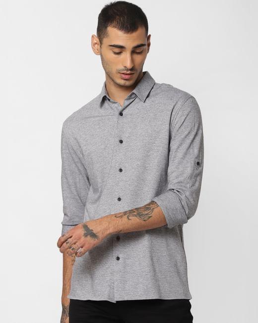 Grey Jacquard Full Sleeves Shirt