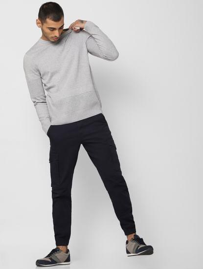 Light Grey Logo Print Pullover
