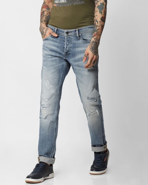 Light Blue Distressed Glenn Slim Fit Jeans
