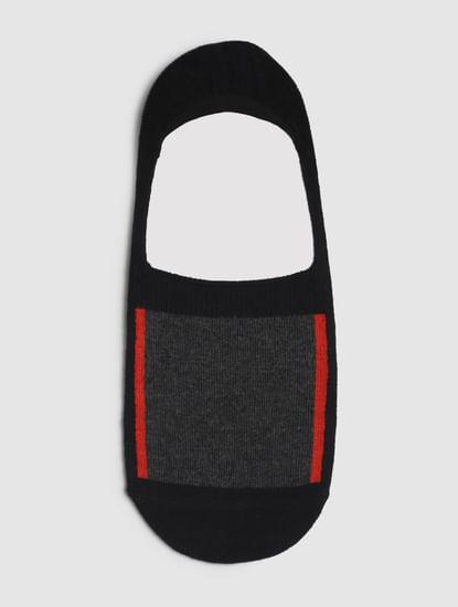 Black Colourblocked No Show Socks