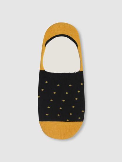 Yellow Colourblocked No Show Socks