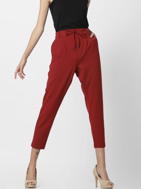 Red Mid Rise Drawstring Pants