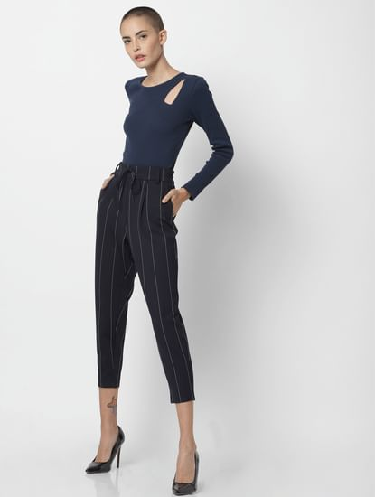 Navy Blue Drawstring Striped Pants