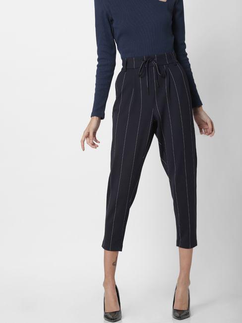 Navy Blue Drawstring Striped Pants