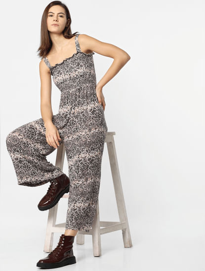 White Printed Smock Jumpsuit