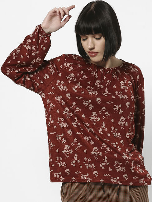 Dark Brown Floral Print Top