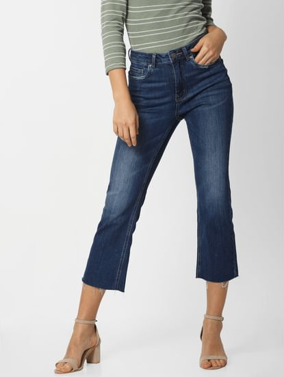 Blue Mid Rise Cropped Flared Jeans