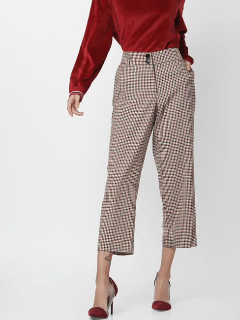 White Mid Rise Check Pants