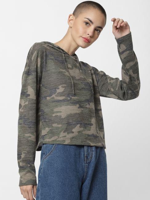 Green Camo Print Hooded Sweatshirt