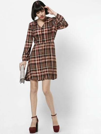 Brown Check Button Down Mini Dress